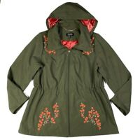 Dennis Basso Womens Size L Jacket Floral Embroidered Anorak Hooded Zip Front