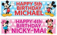 "2 PERSONALISED MICKEY MOUSE / MINNIE MOUSE BIRTHDAY BANNER 36 ""x 11"" ANY NAME"