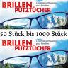 50 bis 1000 Stück Feuchte Brillen Putztücher Tuch Tücher Brillenputztuch