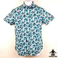 Denim & Flower Ricky Singh Hawaiian Button Up Shirt Palm Trees & Boats - Mens S