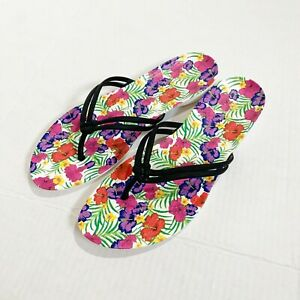 Crocs Women's Size 9 Flip Flops Isabella Graphic Floral Black