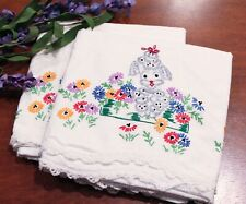 Vintage Embroidered Pillowcases French Poodle Dogs White Crochet Trim