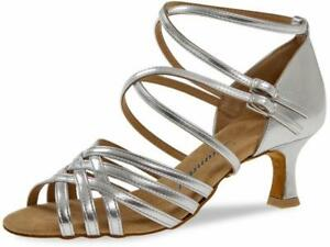 Diamant Tanzschuhe 108-077-013 silber, Latein Schuhe Riemchen Sandalette silber