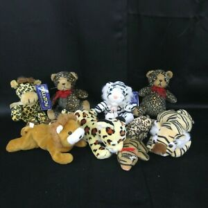 Lot 9 Small Wild Cat Plush Tiger Leopard Lion Giraffe Kelly Toy Wildlife Artist