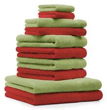 Betz lot de 10 serviettes Classic: rouge & vert pomme, 100% coton
