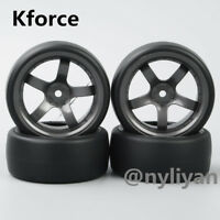 4Pcs Flat Drift Tires&Wheel Rim For HSP HPI Rc 1:10 On-Road Drift Racing Car
