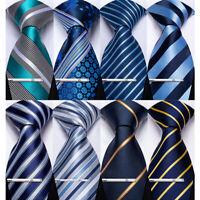 Mens Blue Navy Silk Classic Stripped Set Necktie Silver Tie Clip Hanky Cufflinks
