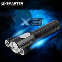 E-SMARTER 6000 Lumen CREE T6+2 Q5 LED 18650 Torch Lamp Rotate Flashlight Light