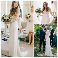 Boho Two Piece Lace Wedding Dress Long Illusion Sleeves Summer Beach Bridal Gown