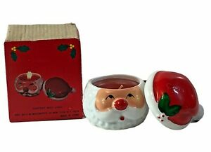 Vtg Woolworth Santa Claus Face Candle with Hat Lid Hand Painted Ceramic Candle