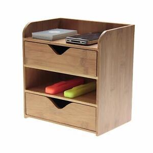 Bamboo 4 Tier Desk Organiser Stationery Box, Desk Tidy