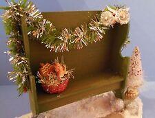 Dollhouse mini Christmas garden deacons bench w/tree & basket of gingerbread