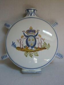 Flask Pharmaceutical Earthenware Of Arms Heraldic Orleans Signed Larochette