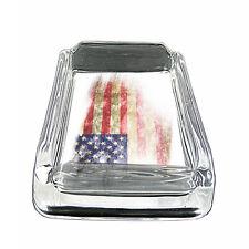 "American Flag D15 Glass Square Ashtray 4"" x 3"" Smoking Cigarette"