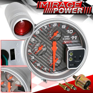"""5"""" 4IN1 11K Carbon Pressure Water/Oil Temp Tachometer Gauge For Dodge Charger"""