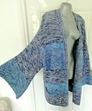 ❤ EAST Size 18 20 (L) Two Tone Blue White Long Open Cardigan Pockets VGC