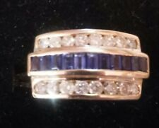 14k Gold Mens  Diamond+Sapphire 3 Row Band Ring~11.22 gr & size 81/4 ((A2))