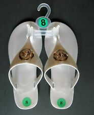 New Women MK Michael Kors Lillie Jelly Thong Flat Slide Sandals PVC Silver