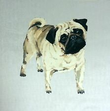 "TEX EX VELVET DOGS PUG CUSHION PANEL SILVER DOG ANIMAL BREEDS SOFT 17.5"" 45CM"
