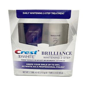 Crest 3D White Brilliance Daily 2 Step Whitening Kit Free Shipp NEW SEALED 08/22