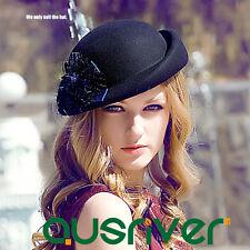 Winter Flower Top Hat Women's Black Hat Retro Vintage Up-brim Wool Felt Hat