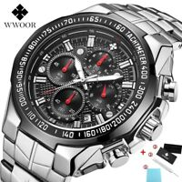 WWOOR Watches Men Top Brand Luxury Sports Chronograph Fashion Quartz Wrist Watch