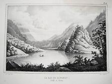 Lungerersee Obwalden Sarneraatal Lungern Schweiz echte alte  Lithographie 1840