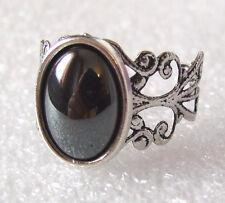 Shiny Black Hematite Gemstone Adjustable Filigree-Style Ring L-T in Gift Box