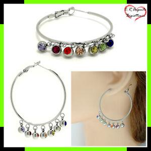 orecchini a cerchio con zirconi strass colorati perline pendente da grandi donna
