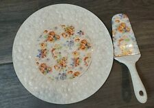 Vtg Floral Porcelain Cake Serving Plate with Serving Spatula Czechoslovakia