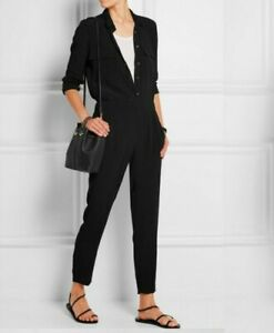 MADEWELL Women PULL-ON JUMPSUIT Black Viscose Crepe Long Sleeve Tapered Ankle S