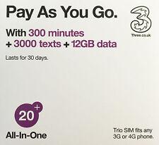 Hong Kong with 42 Countries - UK Three SIM (Europe Prepaid Sim) (US Seller)