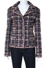 Chanel Multi-Color Plaid Boucle Tweed Contrast Blazer Jacket Size 44 05A