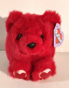 """Puffkins KISSES THE RED TEDDY BEAR W/ HEARTS 4"""" Plush STUFFED ANIMAL Toy NEW"""