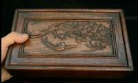 """10"""" China Huang Huali Wood Carved Flower Bird Book Storage Chest Bin Box Statue"""
