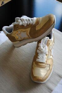 ATLANTIC STARS VEGA Sneaker Damen Gr. 38 in Gold/ Weiß, Gebraucht