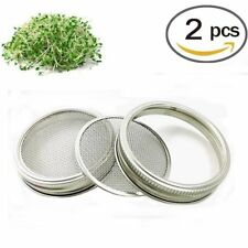 2 Pack Strainer Lid for Wide Mouth Mason Canning Jars Seed Sprouting Screen New