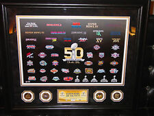DISCOUNTED!! SUPER BOWL 50   #4 of 99 LIMITED EDITION FRAMED - FOUR COINS
