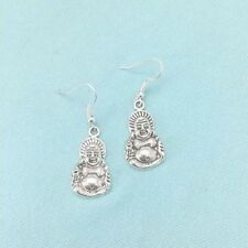 Beautiful SITTING BUDDHA Silver Dangle Earrings.