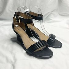 Witchery Black Leather Wedges Size 39 EUR Strappy Open Toe Heels