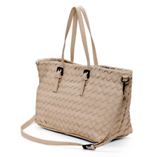 LAURA DI MAGGIO Made in Italy Woven Leather Tote Handbag Purse Beige MSRP $299
