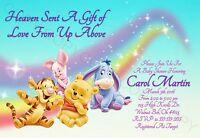 Winnie the Pooh Baby Shower Invitations 12 pk Personalized Rainbow