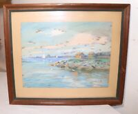 vintage original expressionism JOB nautical coast shore landscape oil painting