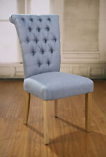 6 x Dining Chairs Blue Linen French Provincial Oak Bedroom Chair Tufted New