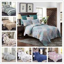 3-Piece Reversible Floral Printed Patchwork Bedspread/Quilt Set