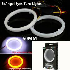 2pcs COB LED Angel Eyes Halo Ring Fog Lamp Light w/Turn Signal White Amber 60mm