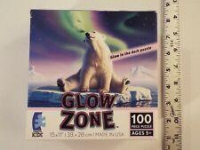 Ceaco Kids-Glow Zone 100 Pc Jigsaw Puzzle-Polar Bear-Northern Lights-Lofaro-Rare