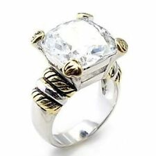 Cushion White Gold Plated Solitaire Costume Rings