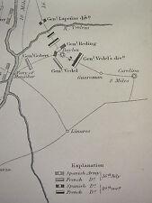 GUERRA D'INDIPENDENZA SPAGNOLA Mappa/piano di battaglia ~ Battaglia di BAYLEN SPAGNOLO FRANCESE posizioni
