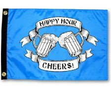 "Happy Hour Cheers Beer Boat Flag Blue 12X18"" New Yacht"